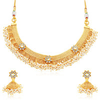Sukkhi Glamorous Jalebi Gold Plated AD Choker Necklace Set For Women