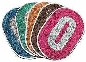 Hw Multicolor Cotton Door Mat Pack Of 2  (10x10)