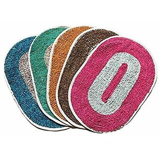 Hw Multicolor Cotton Door Mat Pack Of 2  (10x10)