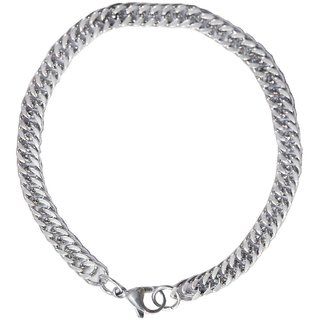 Men Style 7mm Thickness And 225 Long Cuban Link Chain Silver Stainless Steel Link Bracelet For Men And Women
