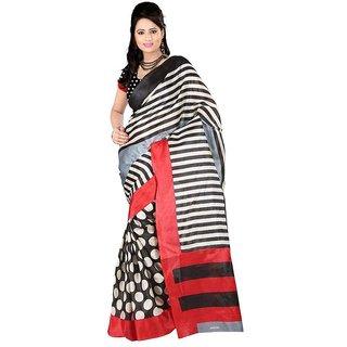 Kajal Sarees White Bhagalpuri Silk Saree