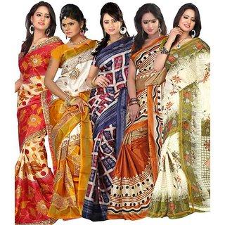Kajal Sarees Multi Color Printed Art Silk SareesCombo Of 5 Sarees
