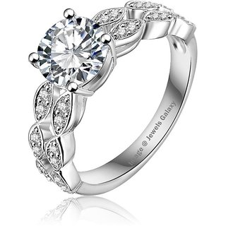 Jewels Galaxy White Platinum Plated Micro Pave Clear Aaa Cubic Zirconia Ring For Women  Girls