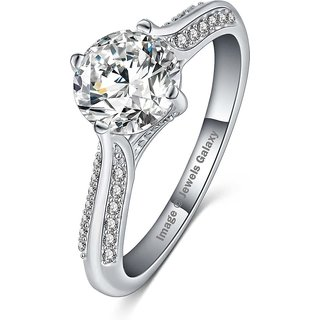 Jewels Galaxy Luxuria Solitaire High Quality Platinum Plated AAA Zircon Fashion Jewellery Eternity Ring