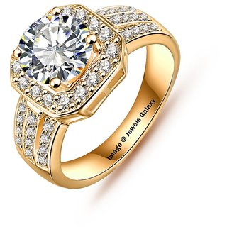 Jewels Galaxy Luxuria New Arrival Square Ring Gold Plate Micro Inlay AAA Cubic Zircon Rings For Women