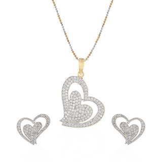 Jewels Galaxy White Hearts Pendant With Chain