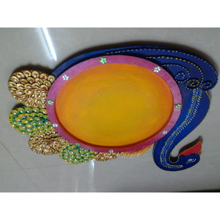 Peacock Shape Kundan And Paper Pooja Thali