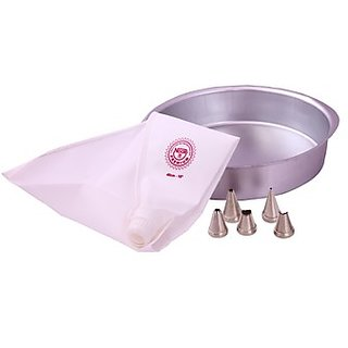 NOOR COMBO OF ICING BAG (25 CM), WITH 5 NOZZLES AND SMALL ROUND CAKE MOULD