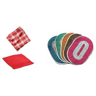Pack of 1 Mat + 1 Kitchen Napkin + 1 Face Towel Combo