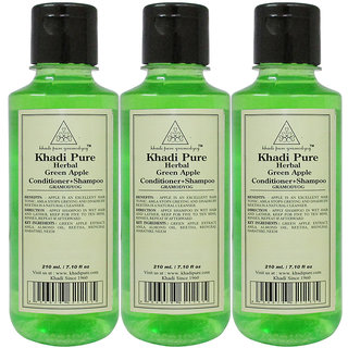 KHADI PURE GREEN APPLE CONDITIONER+SHAMPOO   GRAMODYOG 3 SHAMPOO