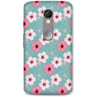 Moto X Force Designer Hard-Plastic Phone Cover From Print Opera - Pink And White Floral
