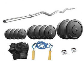 Protoner  16 Kg With 3 Feet Curl Rod Home Gym Package For Beginners