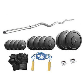 Protoner  14 Kg With 3 Feet Curl Rod Home Gym Package For Beginners