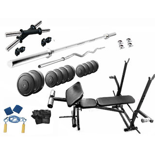 Protoner 30 Kgs PVC Weight With 7 In 1 Bench Home Gym Package