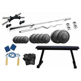 Protoner 50 Kgs PVC Weight With Flat Bench Home Gym Package