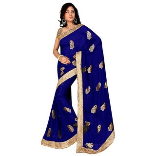 New Designer Blue Chiffon Saree