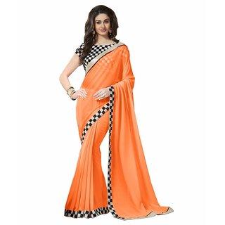 New Designer Orange Chiffon Saree