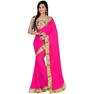 New Designer Pink Bhagalpuri Silk Saree