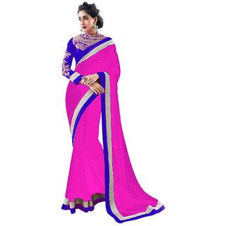 New Designer Pink Chiffon Saree