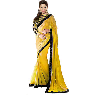 New Designer Yellow Chiffon Saree