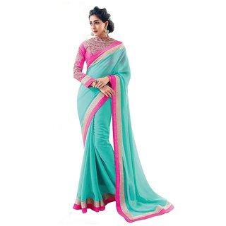 Stylezone Blue Chiffon Saree