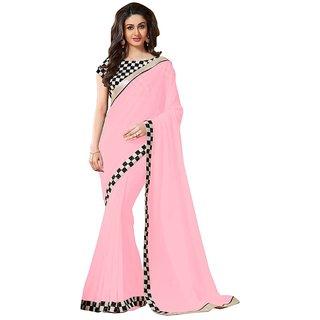 Stylezone Pink Chiffon Saree