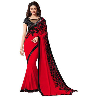 Stylzone Red Faux Georgette Embroidered Saree