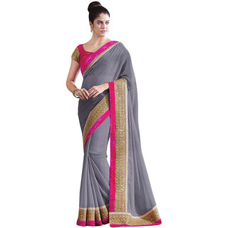 Stylezone Grey Chiffon Self Design  Saree With Blouse