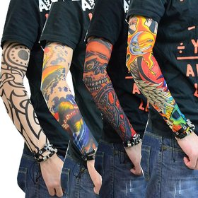 Biker -Tattoo Skin Cover - Biker Arm Sleeves Wearable Arm For Style / Biking Sun Protection ( 1 pair ) Print Assorted