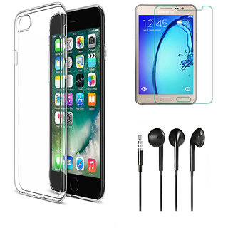 Lava A79 Soft Transparent TPU Back Cover with 9H Tempered Glass and Noise Cancellation Earphones with Mic