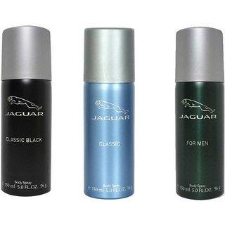 Jaguar Classic black Classic and Men Deodorant Spray - For Men of 150 ml each (pack of 3)
