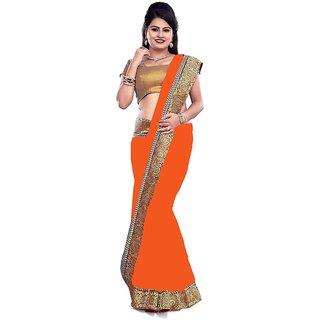 6ce31b3a0b105f Buy New Designer Orange Chiffon Saree Online - Get 58% Off