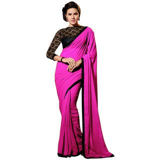 Designer Pink Chiffon Saree