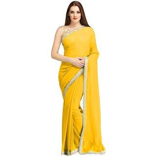 New Designer Yellow Chiffon Saree