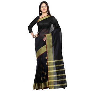 New Designer Black Cotton Silk Saree