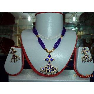 Handmade Gagori Stone Necklace Set Blue