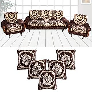 Choco Creation Super  Stylish Combo Brown 5 Seater Sofa covers+ 5 Cushion Covers