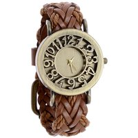 Round Dial Brown Leather Strap Womens Quartz Watch By S