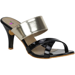 2faa99f68ddc Misto Vagon Women And Girls Party Wear Slippers Casual Slippers And  Formalslippers In Heels Slippers In Black And Gold V