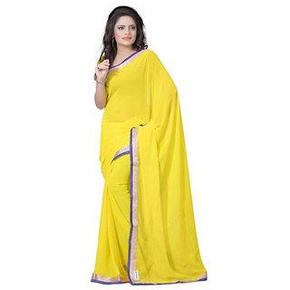 Stylezone Yellow Chiffon Saree