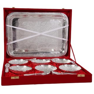 German Silver Set Of 6 Bowls With 6 Spoons and Tray - Home/Office Decorative Item and Birthday Gift