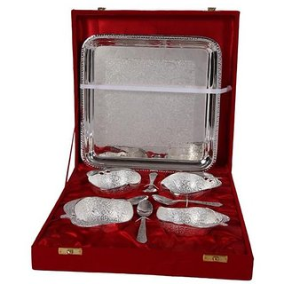 German Silver Set Of 4 Apple Bowls With 4 Spoons and Tray - Home/Office Decorative Item and Birthday Gift
