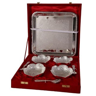 German Silver Set Of 4 Bowls With 4 Spoons and Tray - Home/Office Decorative Item and Birthday Gift