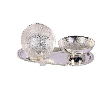 German Silver Set Of 2 Bowls With 2 Spoons and Tray - Home/Office Decorative Item and Birthday Gift