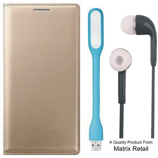 Oppo Neo 5 Leather Finish Flip Cover with Free s and  LED Light