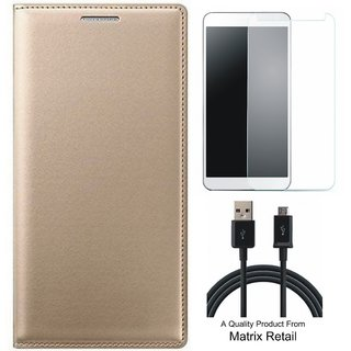 Coolpad Note 3 Leather Finish Flip Cover with Free s  LED Light and  Cable