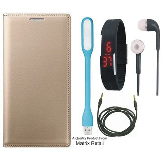 Moto E3 Leather Finish Flip Cover with Free Digital Watch s  LED Light and AUX Cable