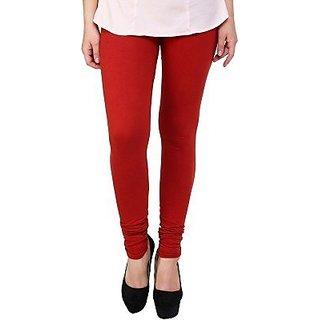 Women's Cotton Blended Churidar Leggings - Red ( Free Size )