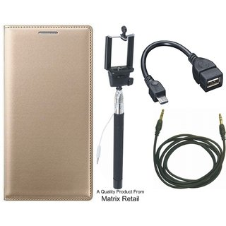 Motorola G Play 4th Gen Leather Finish Flip Cover with Free Selfie Stick, OTG Cable and AUX Cable