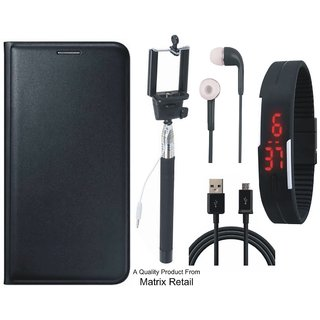 Vivo Y37 Leather Finish Flip Cover with Free Selfie Stick, Digtal Watch, Earphones and USB Cable